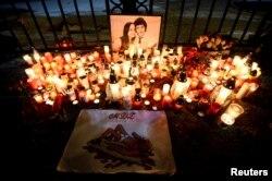 A memorial to Jan Kuciak and his fiancee, Martina Kusnirova