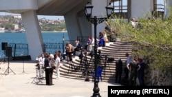 Журналісти перед брифінгом Марії Захарової в Севастополі, 4 травня 2017 року
