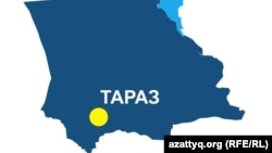 Карта Жамбылской области с указанием административного центра Тараза.
