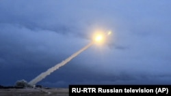 What President Vladimir Putin said is Russia's new nuclear-powered intercontinental cruise missile is test-launched on March 1, 2018.