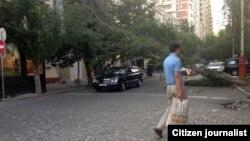 Bakıda əsəg güclü külək Milli Bank istiqamətində yerləşən yolda ağacı kökündən qopardıb.