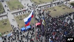 Demonstraţie pro-rusă în Doneţk, 3 martie 2014