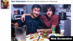 Диас Кадырбаев (слева) и Джохар Царнаев. Фото со страницы Диаса Кадырбаева в социальной сети VKontakte.