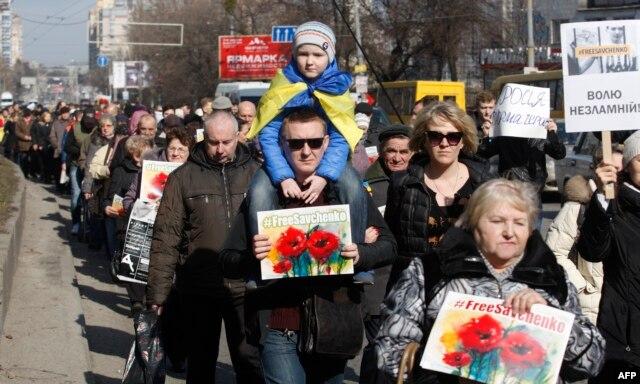 Акция в поддержку Надежды Савченко в Киеве, 8 марта 2016 года
