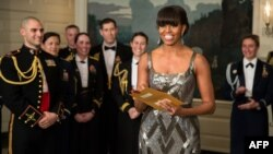 "U.S. First Lady Michelle Obama announcing the Best Picture Oscar to ""Argo"" live from the White House on February 24. (official photo)"