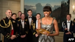 "U.S. first lady Michelle Obama announces the Best Picture Oscar to ""Argo,"" live from the Diplomatic Room of the White House on February 24."