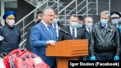Igor Dodon la ceremonia de primire a ajutoarelor umanitare medicale din România