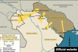 Harta deportărilor de evrei în Transnistria, sub regimul antonescian 1941-1942 (foto USHM)