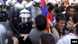 Divisive issue: Armenian activists clash with riot police during a demonstration outside the Turkish Consulate in Thessaloniki in 2007.