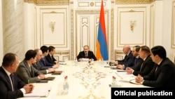 Armenia -- Prime Minister Nikol Pashinian meets with senior law-enforcement officials, Yerevan, February 26, 2020.
