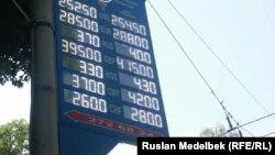 Курс обмена валюты на табло пункта обмена валюты в Алматы, 20 августа 2015 года.