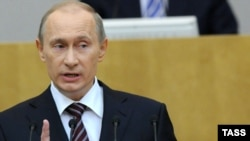 Vladimir Putin addressed the State Duma for the first time as prime minister.