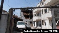 Оштетени куќи од вооружениот судир во кумановско Диво Насеље. во Мај 2015