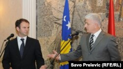 Montenegro - Dusko Markovic, deputy prime minister of Podogorica and Hajredin Kuchi, deputy prime minister of Kosovo as a heads of delegations at the meeting in Podgorica, 25May2011