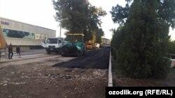 Участок дороги, перекрытый для безопасности покойного президента Ислама Каримова.