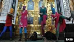 "Members of Pussy Riot in their ""flash-mob""-style performance at Christ the Savior Cathedral in Moscow."