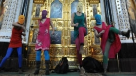 Pussy Riot members protested in a Moscow cathedral in February.