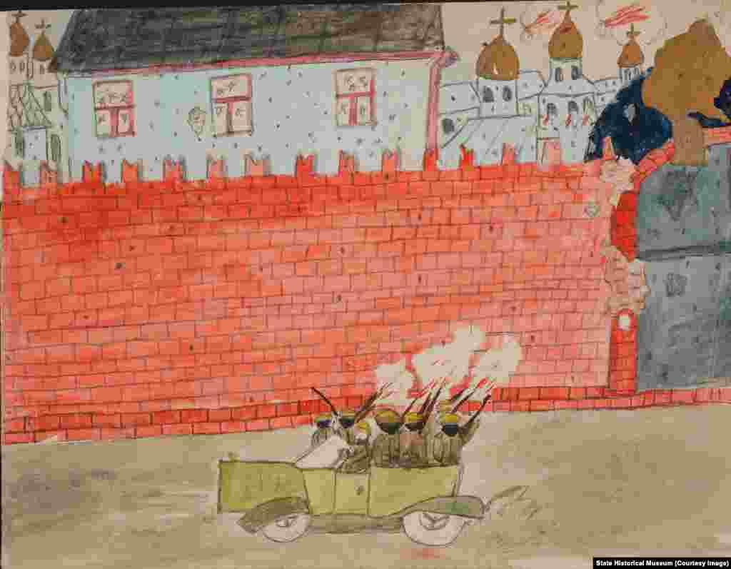 """""""Все пишут с ужасом, что они сидели дома по три-четыре дня, когда Москву обстреливали, обстреливали Кремль. Они боялись выйти на улицу, они ждали, что придут большевики и всех зарежут"""", – рассказывает куратор. Неизвестный автор. """"Обстрел Кремля""""."""