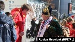 Фанаты казахстанской сборной в Сочи. 7 февраля 2014 года.
