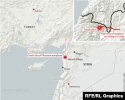 Карта с указанием маршрута полета Су-24 и места его падения, соответствующая версии Турции