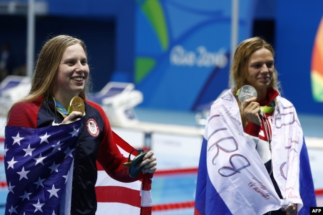 American swimmer Lilly King (left) at the 2016 Olympics in Rio de Janeiro.