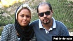 زیبا صادقزاده در کنار همسرش پیمان عارفی