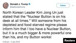 """Postimi në Twitter i Donald Trumpit këtë javë lidhur me """"pullën atomike"""""""