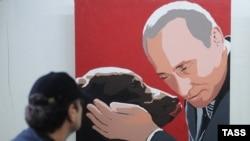 Владимир Путин и его лабрадор Кони. Картина с выставки художника Алексея Сергиенко