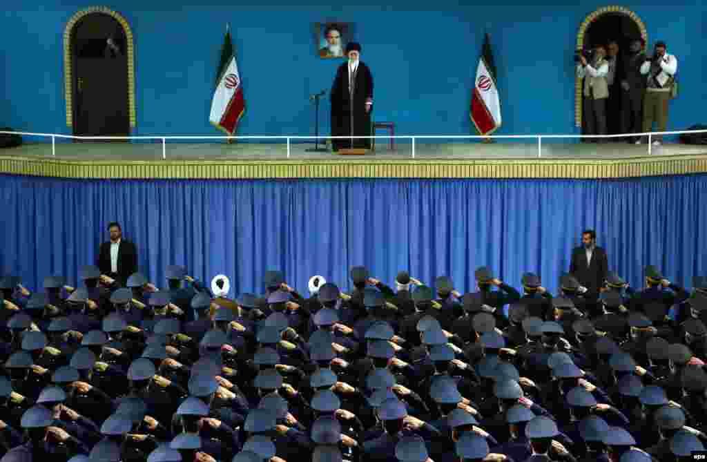 Iranian Air Force officers salute Iran's supreme leader Ayatollah Ali Khamenei during a ceremony in Tehran. (epa)