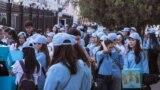 Адам укуктарынын декларациясынын 70 жылдыгына арналган Флешмоб, БУУнун Бишкектеги кеңсесинин короосунан башталды.