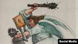 Ангел побивает дубиной Мефистофеля, карикатура (С) Олег Дергачев