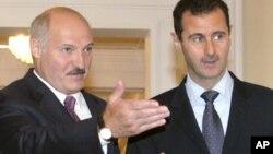 Аляксандр Лукашэнка і Башар Асад, у Менску 26 ліпеня 2010