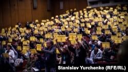 Акция в поддержку Олега Сенцова на церемонии награждения победителей Docudays UA-2017. Киев, 30 марта 2017 года