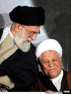 Iran's Supreme Leader Ayatollah Ali Khamenei and Chairman of the Expediency Discernment Council and ex- president Akbar Hashemi Rafsanjani (R) still as friends . UNDATED
