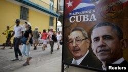 Барак Обаманын тарыхый сапарын утурлап Гавананын көчөсүнө илинген плакат, 17-март, 2016-жыл