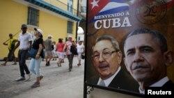 """На плакате – Рауль Кастро и Барак Обама и надпись """"Добро пожаловать на Кубу"""""""