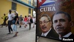 تصویر رهبران آمریکا و کوبا در شهر قدیم هاوانا