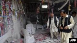 """Pakistanyň halk partiýasynyň"" edarasynda bolan bomba partlamasyndan soň, Kwetta, 10-njy maý, 2013."