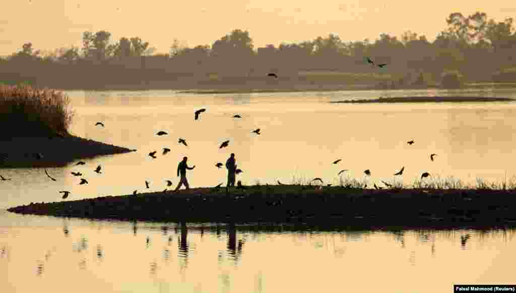 Men feed crows on the banks of Rawal Lake in Islamabad, Pakistan. (Reuters/Faisal Mahmood)