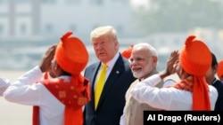 Президент США Дональд Трамп прибыл с визитом в Индию, 24 февраля 2020 года