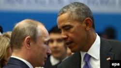 Барак Обама и Владимир Путин на саммите G20 в Анталии в ноябре 2015