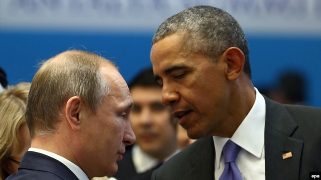 """Instead of launching air strikes against Syrian President Bashar al-Assad and his chemical weapons stockpiles, U.S. President Barack Obama said he pulled Vladimir Putin (left) aside at a G20 summit in St. Petersburg and told his Russian counterpart """"that if he forced Assad to get rid of the chemical weapons, that would eliminate the need for us taking a military strike."""""""