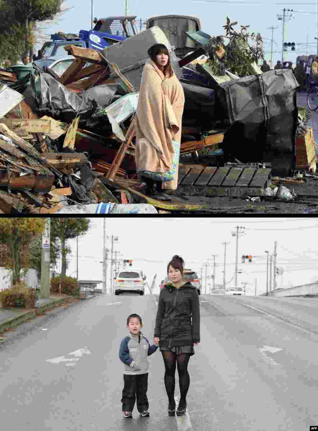 On top, Yuko Sugimoto standing in front of debris looking for her son in the tsunami-hit town of Ishinomaki in Miyagi Prefecture on March 13, 2011, and below, with her 5-year-old son Raito on January 27, 2012