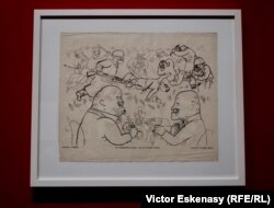 """George Grosz Mapa politică de satire """"Dumnezeu cu noi""""; Fotolitografia """"Comuniștii cad, devizele urcă"""""""