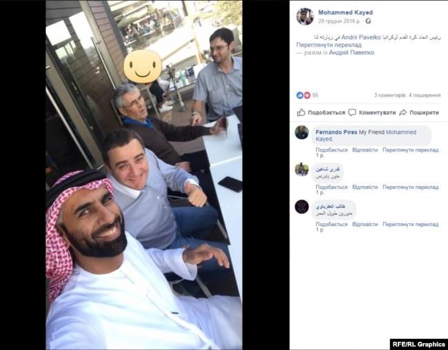 Номінальний директор арабської компанії S.D.T. FZE шейх Алькасемі та голова ФФУ Андрій Павелко знайомі одне з одним
