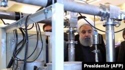 Иранский президент Хассан Рухани на праздновании Национального дня развития ядерных технологий в Тегеране. 9 апреля 2018 года