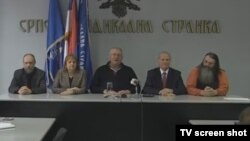 Serbia, Belgrade, Vojislav Seselj and his associates 24jan2016