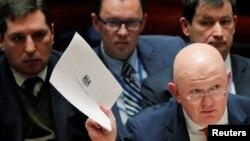 ՄԱԿ-ում Ռուսաստանի դեսպան Վասիլի Նեբենզյան Անվտանգության խորհրդի նիստի ժամանակ, Նյու Յորք, 5-ը ապրիլի, 2018թ․