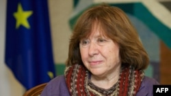 Belarusian writer Svetlana Alexievich visits the Ukrainian Embassy in Minsk in November 2014.