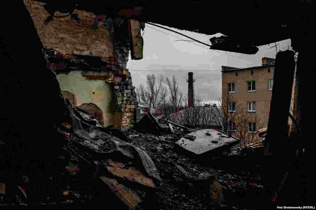 View from a shelled apartment in Debaltseve